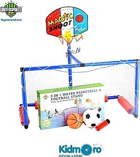 Kidmoro United Sports 3 in 1 Aquatic Basketball & Football Stand Game Set, Orange