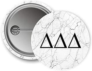 Delta Delta Delta Sorority Light Marble with Black Letters Pin Back Badge 2.25-inch Button Tri Delta
