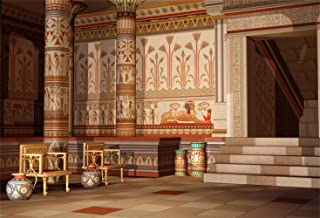Laeacco 10x8ft Ancient Egyptian Palace Doorway Vinyl Photography Background Antique Egypt Mural Wall Paintings Pillars Stages Vintage Chairs Backdrop Egypt Theme Party Banner Scenic Spot Studio