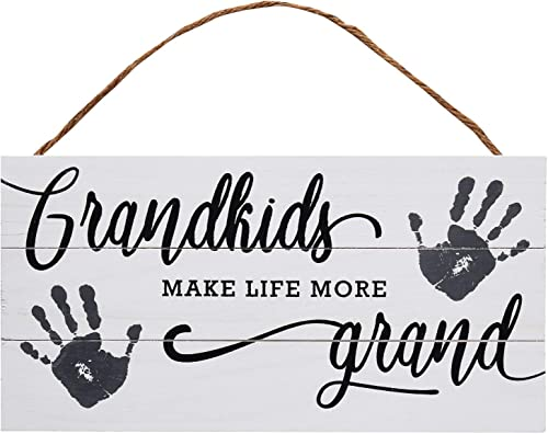 lowest Grandkids Wood Plank Hanging Sign for Home discount Decor (13.75 outlet online sale x 6.9 Inches) online
