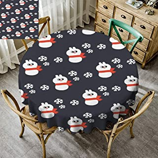 Merry Christmas, Round Tablecloth for Kids/Childrens, Christmas Decoration Picnic Table Cloth for Dining Kitchen Xmas Snowman Snowflake White Black - 62