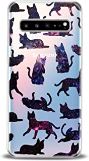 Cavka TPU Phone Case for Samsung Galaxy Note 10 Plus 5G S10 S10e S9 S8 S7 Lightweight Pattern Cats Black Gift Cute Galaxy Design Print Joyful Funny Pets Flexible Slim fit Smooth Clear Soft Animals