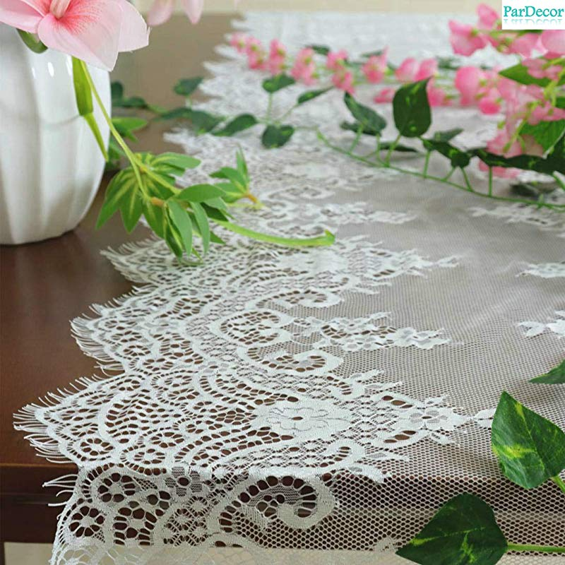 ParDecor 2pcs Lace Table Runner 17x120 Inch White Embroidered Crochet Lace Table Runner Wedding Table Runners Floral Lace Table Cloth Runner Rustic Lace Fabric Trim