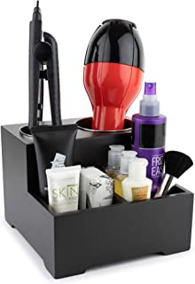 Stock Your Home Hair Care Organizer - Blow Dryer Holder - Hair Styling Station - Bathroom Vanity Countertop Organizer for Curling Iron, Flat Iron, Hair Tools and Beauty Accessories, Small, Black