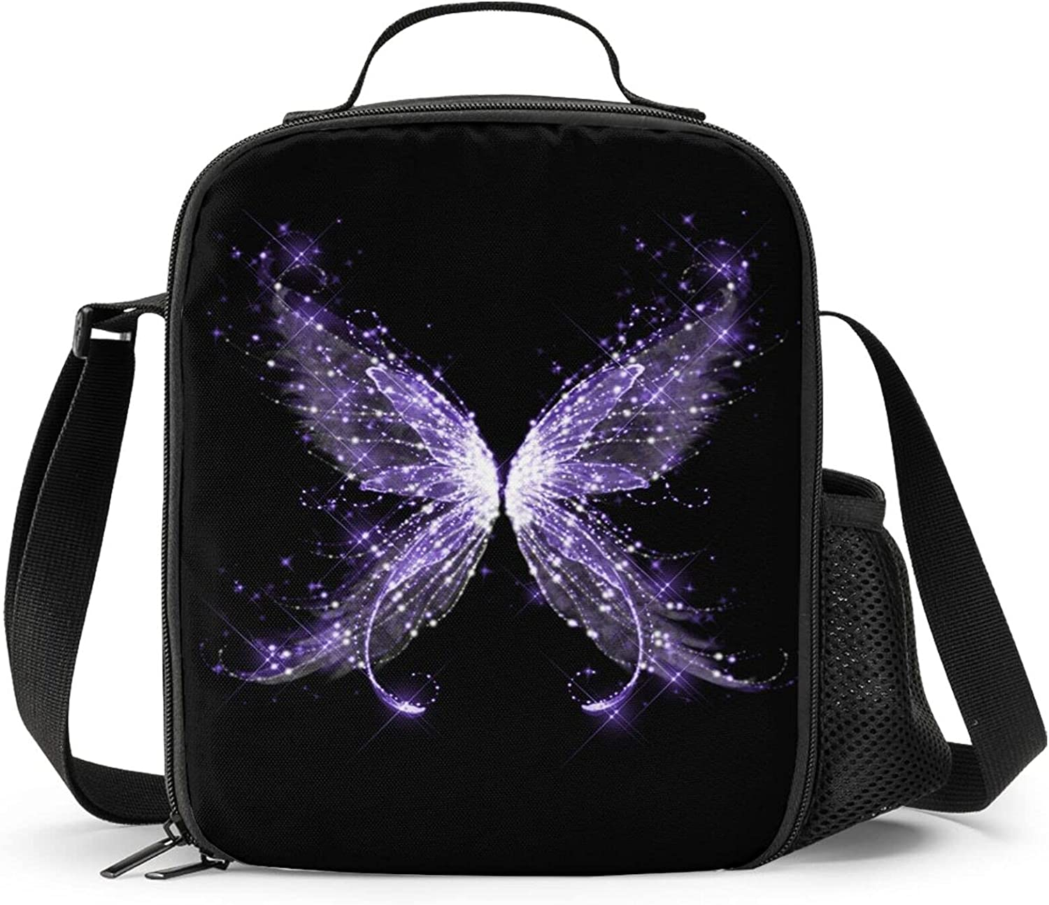 Niukom Purple Butterfly Reusable Lunch Bag Kid'S Insulated Tote Lunch Box Food Bag Cooler Bag Meal Bag Food Container For Boys Girls Child Back To School Travel Picnic Beach Camping Travel