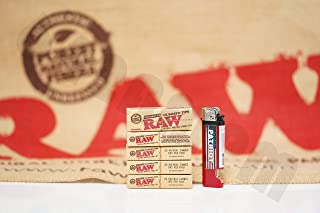 Bundle - 6 Items - 5 Packs(33 Tips Per Pack) Of AUTHENTIC Raw Rolling Paper GUMMED PERFORATED TIPS And Patriot Lighter