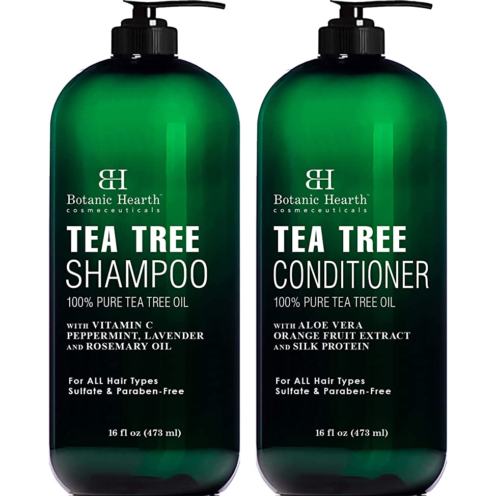Botanic Hearth Tea Tree Shampoo and Conditioner Set - with 100% Pure Tea Tree Oil, for Itchy and Dry Scalp, Sulfate Free, Paraben Free - for Men and Women - 2 bottles 16 fl oz each yzvqqbep508
