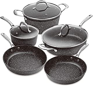 MasterPan MP-200 11-Piece Superior Non-Stick Cast Aluminum Induction Cookware Set, Granite Series