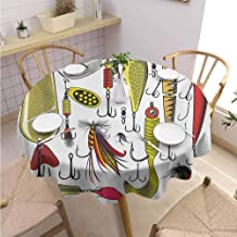 S-ANT Overlays Round Tablecloth Fishing,Collection of Artificial Bait Twister Trapping Activity Hunting Fishing Concept,Yellow Red Wedding Patio Dining Dorm D62