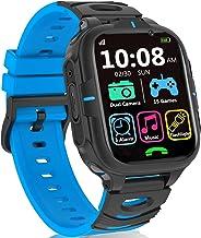 ساعت مچی هوشمند بچه گانه پسرانه- بچه ساعت مچی هوشمند با 2 دوربین فیلمبرداری 15 بازی پخش کننده موسیقی زنگ ساعت کرونومتر 12/24 ساعت ، ساعت هوشمند صفحه لمسی برای کودکان 3 تا 14 سال (آبی)