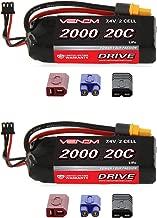 Venom 20C 2S 2000mAh 7.4V LiPo Battery with Universal Plug (EC3/Deans/Traxxas/Tamiya) x2 Packs