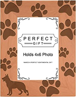 Gifts For All By Rachel Olevia Dog Lover Gift German Shepherd Paw Prints Natural Wood Engraved 4x6 Portrait Picture Frame Wood