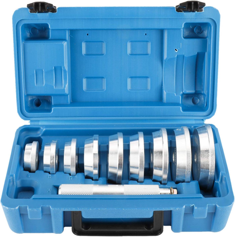 FreeTec 10 Piezas Herramientas de Aluminio para rodamientos de Eje y Sellado Profesional Herramienta de Rodamiento de Rueda Arrancador Extractor Set Herramientas de Eliminación de Cubos de Rueda