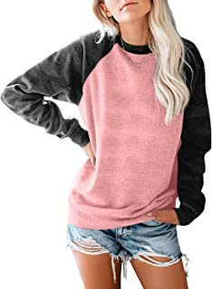 Womens Long Sleeve Camouflage Print Pullover Crewneck Sweatshirt Casual Tops Raglan Shirt
