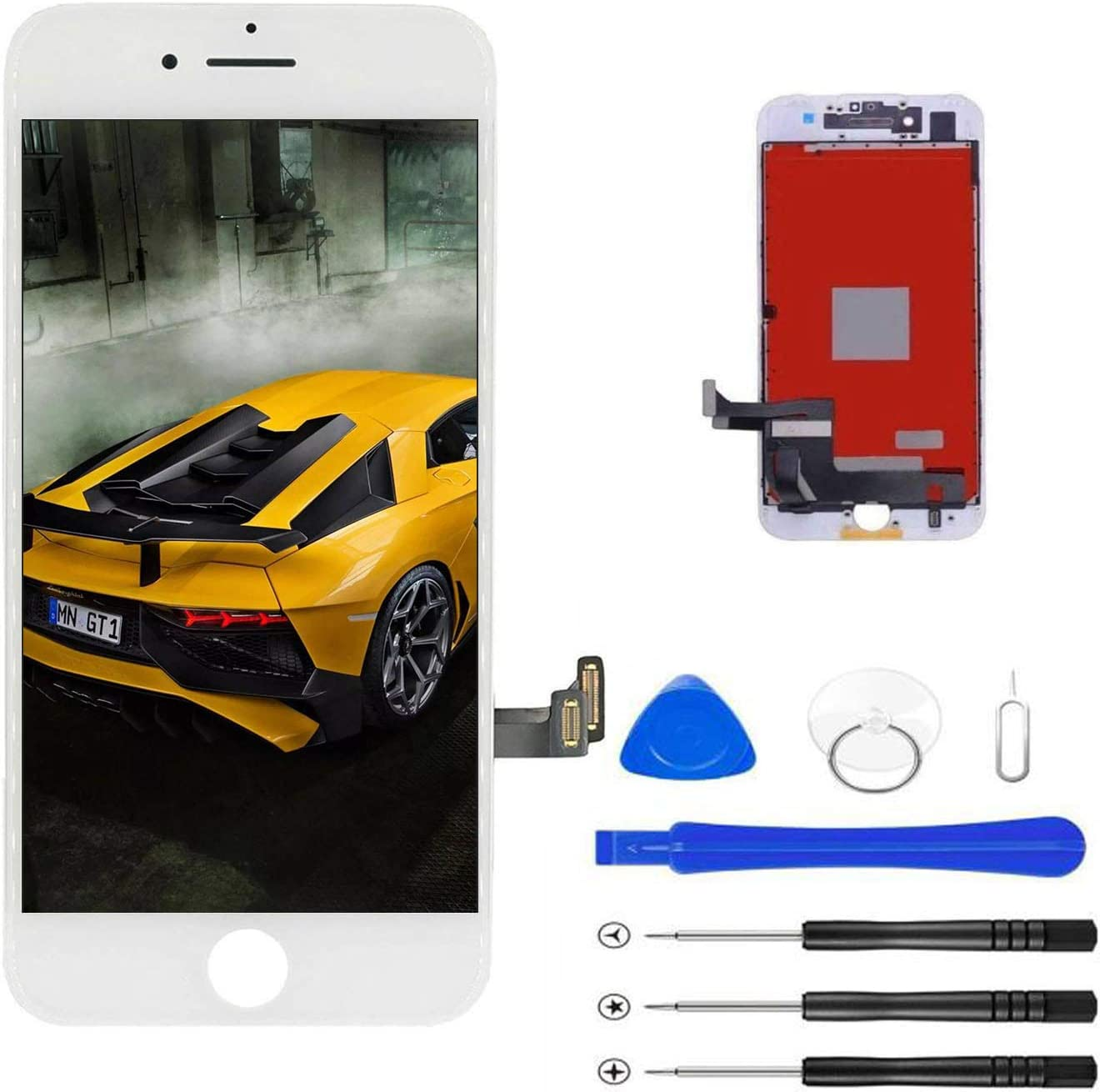 with Repair Tools Magic Tech Replacement for iPhone 8 Plus White 5.5 LCD Display Touch Digitizer Frame Assembly Full Repair Kit White