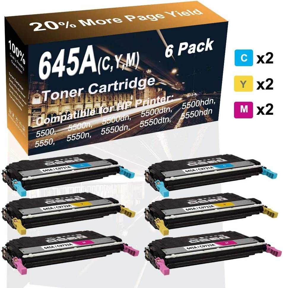 6-Pack (2C+2Y+2M) Compatible High Yield Color 645A (C9731A C9732A C9733A) Printer Toner Cartridge use for HP 5550dtn 5550hdn 5500dtn Printer