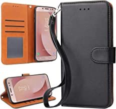 OKILA Galaxy J7 Pro Case, Galaxy J7 2017 Wallet Leather Flip Cover with Kickstand and Card Slot for Samsung Galaxy J7 Pro 2017 Slim Phone Case (Black)
