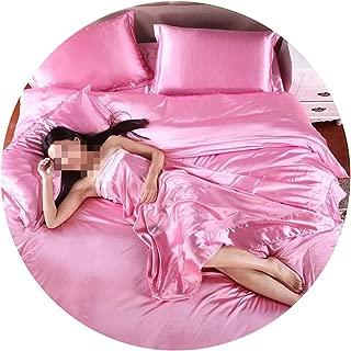 HOT! 100% Pure Satin Silk Bedding Set,Home Textile King Size Bed Set,Bedclothes,Duvet Cover Flat Sheet Pillowcases,Pink,King 3pcs