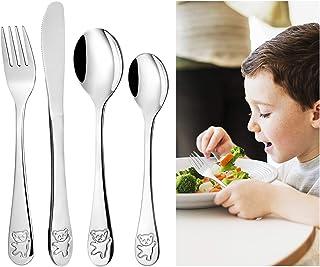Comius Sharp 4 Piezas Cubertería Infantil de Acero Inoxidable, Incluir Tenedor, Cuchillo de Mesa y Cuchara Set de Caja Tallas de Animales Apto para Mesa de Comedor