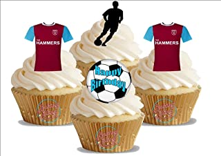 12 x West Ham FC Happy Birthay Soccer Mix - Choose From UNFLAVOURED or VANILLA-SWEETENED Toppers - Fun Novelty PREMIUM STAND UP Edible Wafer Card Cake Toppers Decorations (Unflavoured)