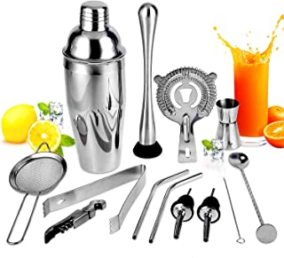 Cocktail Shaker Set Bartender Kit, 13-Piece Stainless Steel Bar Tools Kit, Bar Set Cocktail Shaker Set and Bar Tools, Martini Shaker Set, Perfect Home Bartending Kit for an Awesome Drink Mixing