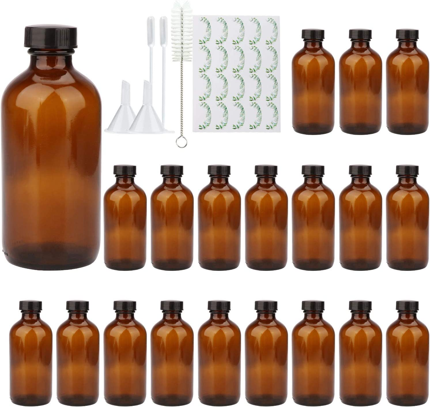 8oz Durable Glass Bottle, Reusable Glass Bottles with Airtight Lid for Shampoo, Conditioner, Essential Oils, Set of 20 (Brown)