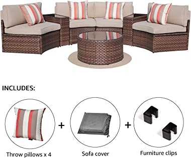 SUNSITT Outdoor 7-Piece Half-Moon Sectional Furniture Set with Round Coffee Table, Patio Curved Sofa Set, Beige Cushion and B