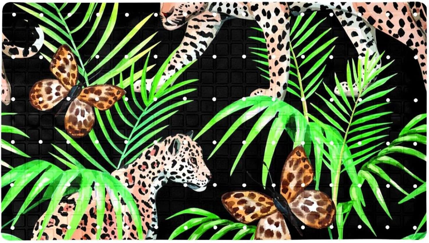 Bath Portland Mall Tub Shower Mat 15.7x27.9 inches Leopard Palm Butterfly and 5 ☆ popular