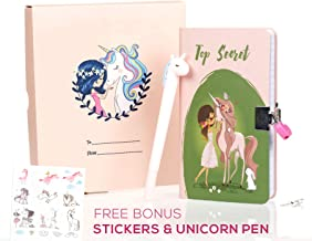 Unicorn Diary with lock for girls - Secret Locking Journal with Heart Lock and Key, 200 Pages of Beautiful Unicorn Artwork w/ Bonus Unicorn Pen and Stickers, Great Journals Diaries Gift for kids girls