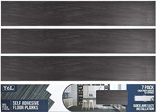 Floor Planks Tiles Self Adhesive Black Wood Vinyl Flooring Kitchen Bathroom