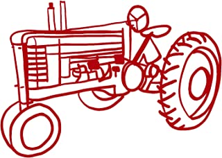 hBARSCI Tractor Vinyl Decal - 5 Inches - for Cars, Trucks, Windows, Laptops, Tablets, Outdoor-Grade 2.5mil Thick Vinyl - Red