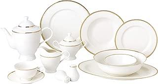 Royalty Porcelain Vintage Gold Pattern 57-pc Dinnerware Set 'Royal Gold', Premium Bone China
