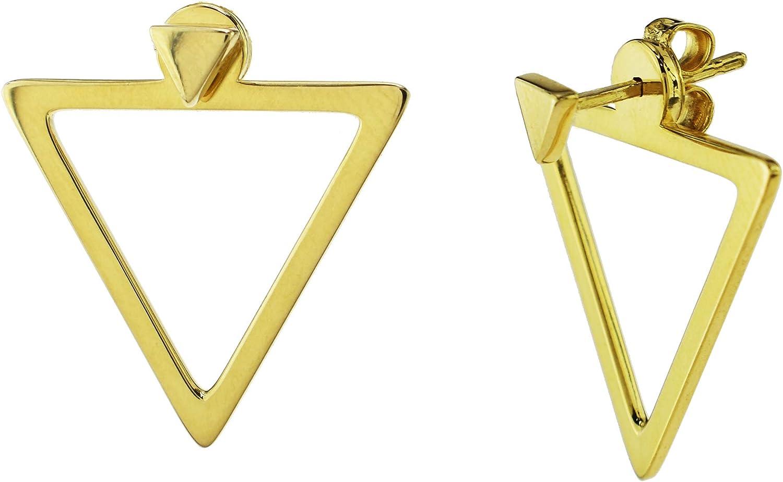 14K Gold Triangle Jacket Earrings