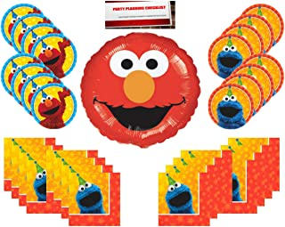 Sesame Street Birthday Party Supplies Bundle Pack 16 (Bonus 18 inch Elmo Balloon Plus Party Planning Checklist Mikes Super Store)