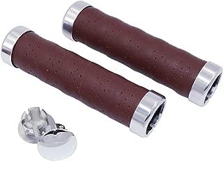 KINGOU Ergonomic Design Leather Handlebar Grip for Bicycle/Fixed Gear/Mountain/Folding Bike Double Lock-on Bar Grip …