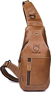 Bullcaptain Sling Backpack Genuine Leather Chest Shoulder Bags Casual Crossbody Bag Travel Hiking Daypacks 019