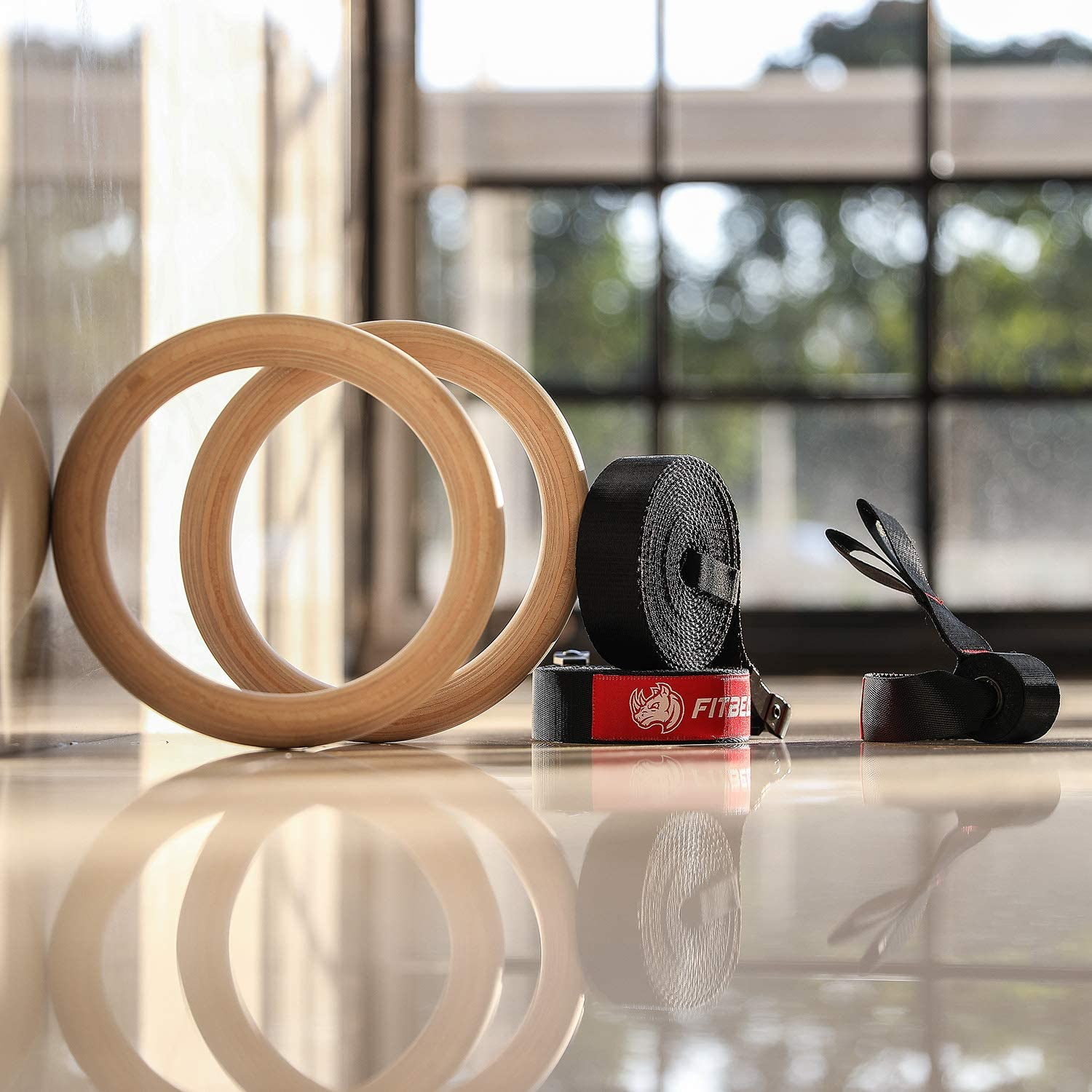 Buy FitBeast Wood Gymnastic Rings, Olympic Rings 1600lbs with Adjustable Buckle 15ft Long Straps Gym Exercise Rings Non-Slip Training Rings for Cross-Training Workout and Home Gym Full Body Workout Online in Canada.