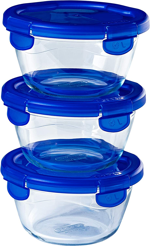 Pyrex® Cook & Go - Juego de 3 recipientes de cristal redondos con tapas herméticas e impermeables, 15 cm, 0,7 L, sin BPA