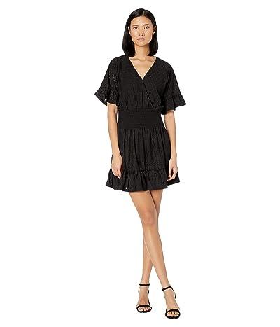 MICHAEL Michael Kors Eyelet Smocked Waist Dress (Black) Women