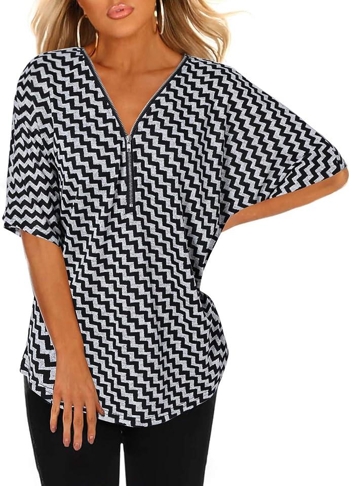 Women Short Sleeve V Neck Tops Summer Top Colorblock T-Shirt Loose Casual Blouses Tee Shirt Blouse