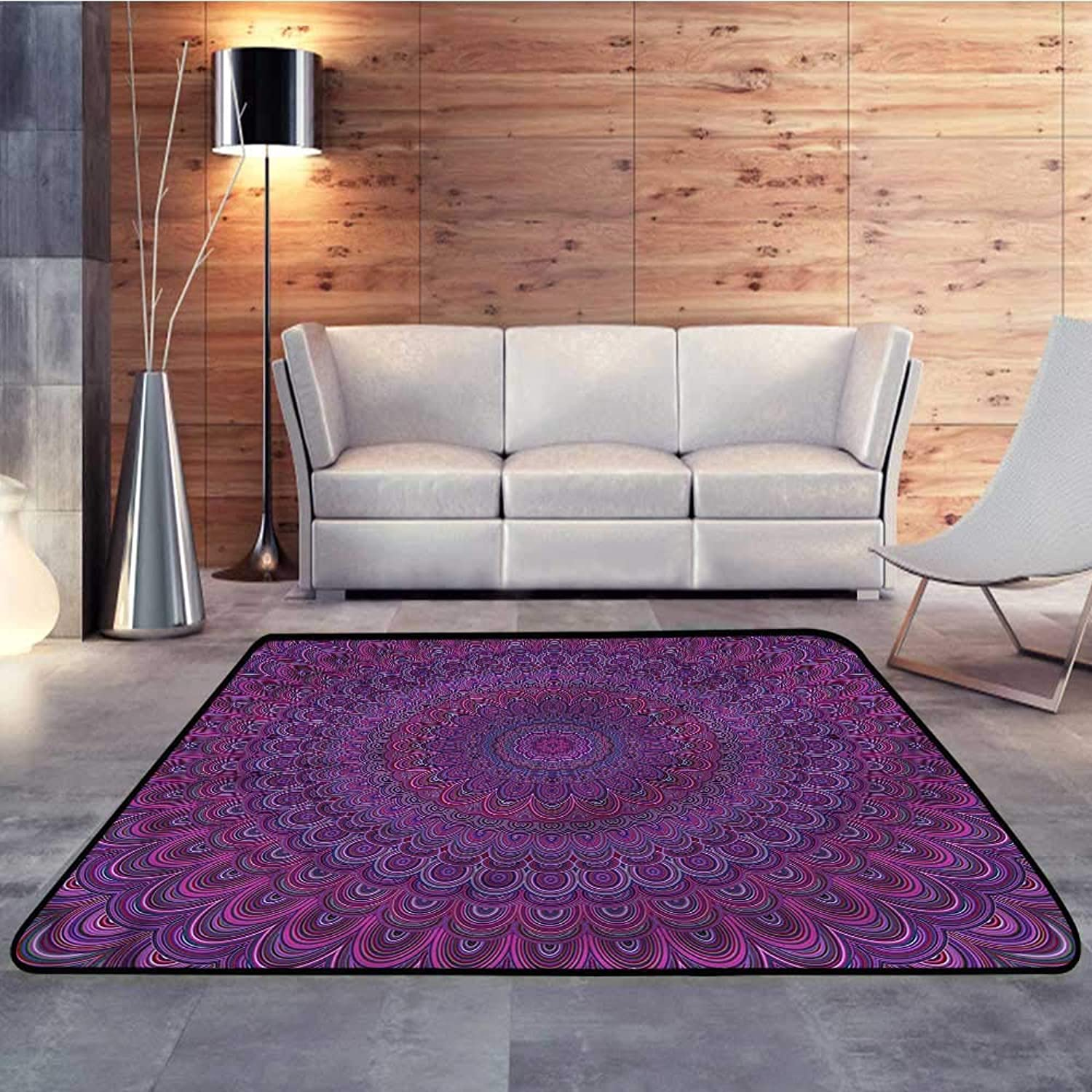 Kids rugsEggplant,Vintage Purple MandalaW 35  x L59 Slip-Resistant Washable Entrance Doormat