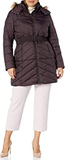 Nanette Lepore Women's Belted Puffer Coat with Faux Fur Collar