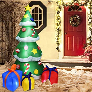 7FT Inflatable Christmas Tree Decorations, LED Lights Design Gift Boxes Under Tree Ornament Self-inflates Blow Up with Fan, Indoor Outdoor Christmas Yard Prop Décor