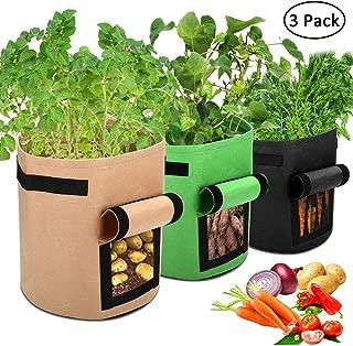Accmor 3 Pcs Garden Potato Grow Bags with Flap and Handles Fabric Pots Heavy Duty, 7 Gallon Potato Tomato Planter Bag Vegetable Planting Bag