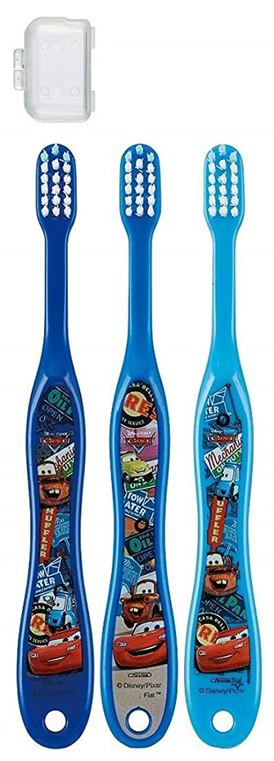 完璧なたらいまた明日ねキャップ付き 3本セット 子供歯ブラシ 園児用 カーズ トイストーリー プラレール ディズニー ピクサー fo-shb02(カーズ)