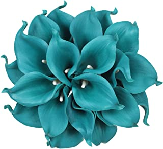 Artiflr 20pcs Calla Lily Bridal Wedding Bouquet Lataex Real Touch Artificial Flower Home Party Decor (Peacock Blue)