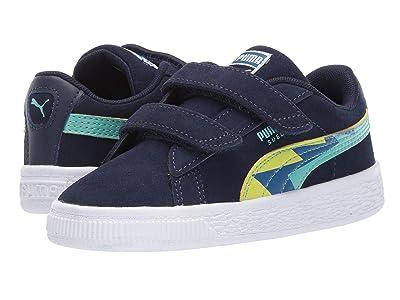 Puma Kids Suede Classic Lightning V (Toddler) (Peacoat Blue/Turquoise) Boys Shoes