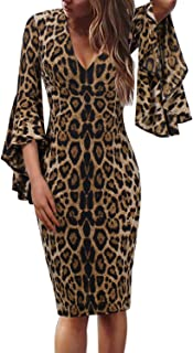 Womens Sexy V Neck Ruffle Bell Sleeve Cocktail Party Sheath Dress