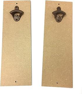 "MDF 5"" x 15"" Craft Plaque with Cast Iron Bottle Opener, 2-Pack, Measures 15"" x 5"", DIY Bottle Opener Craft Kit (SJT00090)"
