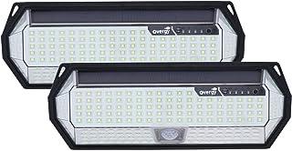 Overgy PACK 2 Luz Solar Exterior para jardín 196 LED Lámpara grande de 8 lados impermeable IP65, batería de 4400 mAh de larga duración con sensor de movimiento y 3 modos de uso Pack 2 Lámparas 196 LED